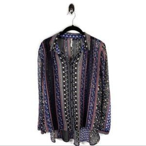 Free People Sheer Button Down Shirt Size S